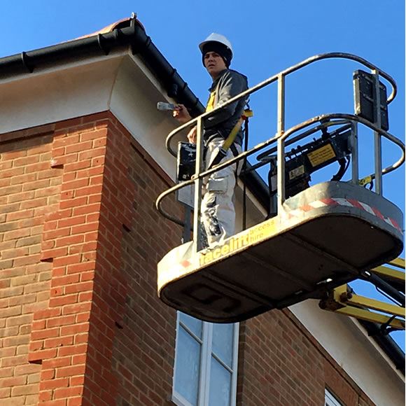 Cherry Picker Exterior Painting of Wooden Fascia