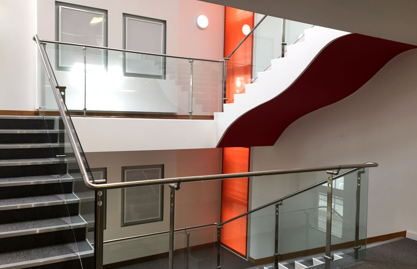 Office Decorating Contractor Staircase Job Example